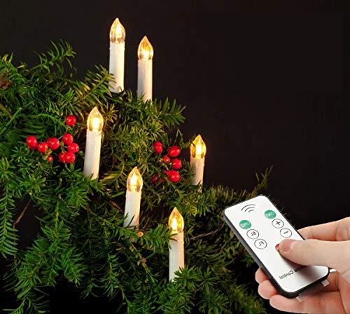 40er LED Weihnachtskerzen Kerzen Weihnachtsbaum Lichterkette mit Fernbedienung Kabellos LED Wasserdichte Baumkerzen (40X)