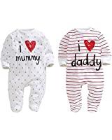 AOMOMO Unisex-Baby Newborn Twins I Love Mummy I Love Daddy Bodysuit Twins 2 Pack (3 Month) White