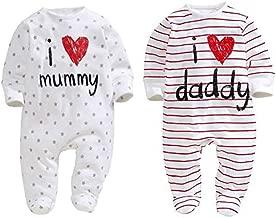 AOMOMO Unisex-Baby Clothes Newborn Twins I Love Mummy I Love Daddy Bodysuit Twins 2 Pack(3Month)