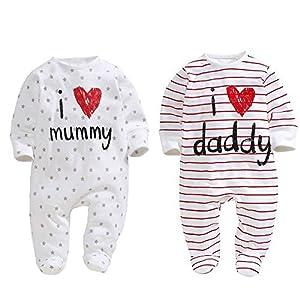 Juego de dos peleles para bebé unixez, marca Aomomo para recién nacidos con mensajes impresos «Quiero a mami», «Quiero a papi» 2pack Talla:3 Month