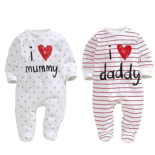 AOMOMO Unisex-Baby Newborn I Love Mummy I Love Daddy Bodysuit 2 Pack (6 Month) White