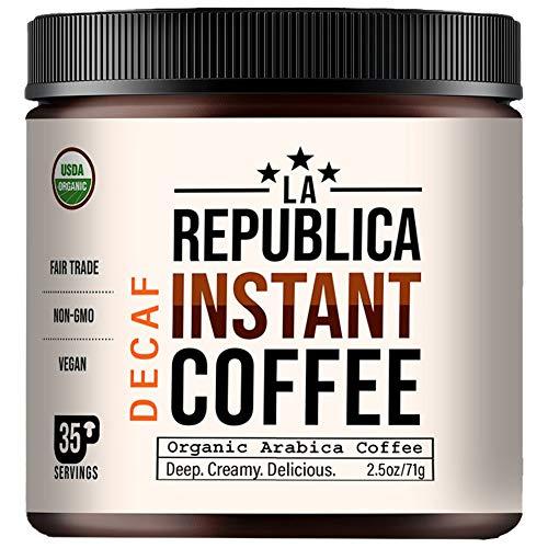 La Republica Organic Decaf Instant Coffee (35 Servings), Rich Medium Roast Coffee with Toasted Caramel Notes, Small Batch 100% Fair Trade Arabica Coffee, USA Made
