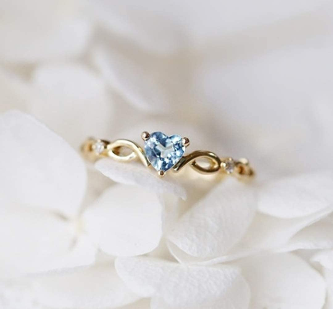 Cuteshop 14k Gold Sea Blue Topaz Love Heart CZ Diamond Ring Women Anniversary Engagement Wedding Gemstone Ring (6)
