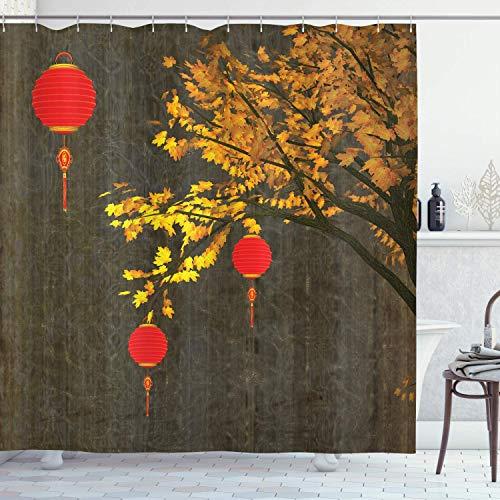 SanJIUCOM 66x72inch Duschvorhang, scharlachrote Laternen des Herbstbaums Dramatisch schattiertes, inspiriertes saisonales Design, Badezimmer-Set aus Stoffgewebe mit Haken, Rot-Orange