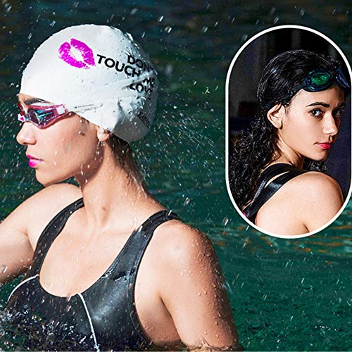 KAISIDA Silicone Swim Caps, Swimming Cap for Women & Men Adult Youth Bathing Cap to Keep Your Hair Dry (White)