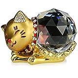 風水 水晶 クリスタル 猫 【 幸運 招き お願い ネコ ちゃん 】 金運 ラッキー アイテム (Gold ゴールド)