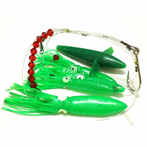 Fish WOW! Daisy Bird Chain Squid Lure Rig Teaser Fishing Trolling - Green