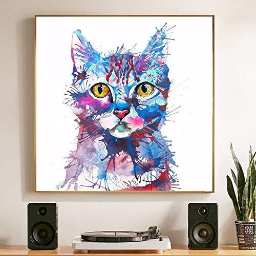 ganlanshu Rahmenlose Malerei Aquarell Tier Katze Bild Leinwand Malerei Wandbild Schlafzimmer Wohnzimmer Poster MalereiCGQ8457 40X40cm
