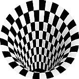 3D Area Rug Floor Mat Round Carpet 3D Mat Rug Swirl Print Optical Illusion Floor Pad, Checkered Vortex Optical Illusions Non Slip Area Rug, for Living Dinning Room Bedroom Kitchen (47.2447.24 in)