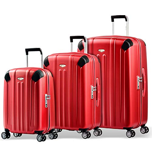 Eminent Koffer-Set Boulder 3 teilig 1x Handgepäck Koffer Gr. S & je EIN Koffer Hartschale Größe M + L super leicht extra Eckenschutz Anti-Kratz-Hartschale Rot