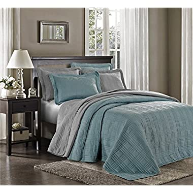 Chezmoi Collection Kingston 3-piece Oversized Bedspread Coverlet Set (Queen, Blue)