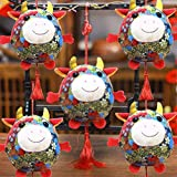 4 Pack Fat Ox Mascot Plush Pendant 2021 Year of The Ox Hanging Doll Red Chinese Knot Ox Cow Ornament New Year Decoration Gift Blessing Souvenir Present Home Car Hanging Decor