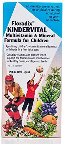 Salus Floradix Kindervital, Pour Enfants, Formule Liquide Enrichie en Calcium et Vitamine D pour la Santé et le Développement des Os, 250 ml