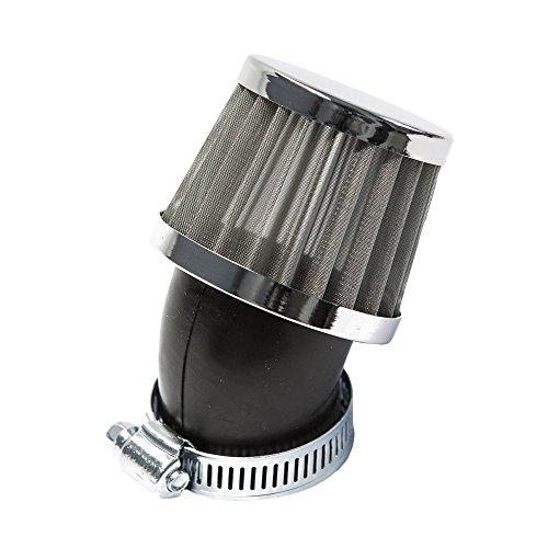 Sport Luftfilter Stahlgewebe Maxtuned für 17,5mm Vergaser, 45° abgewinkelt, 35mm Anschlussweite
