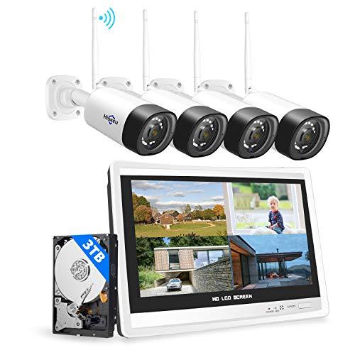 【3MP+3TB Festplatte】Hiseeu Überwachungskamera Set Aussen WLAN mit 12\'\'Monitor 8CH Wireless NVR,4 Pcs 3MP WiFi Kameras mit 2-Wege Audio,Nachtsicht,Fernanzeige,App&Mail Alarm,3TB HDD Inklusive