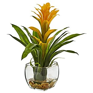 Nearly Natural 1 Bromeliad with Glass Vase Arrangement, 11 x 11 x 12, Yellow