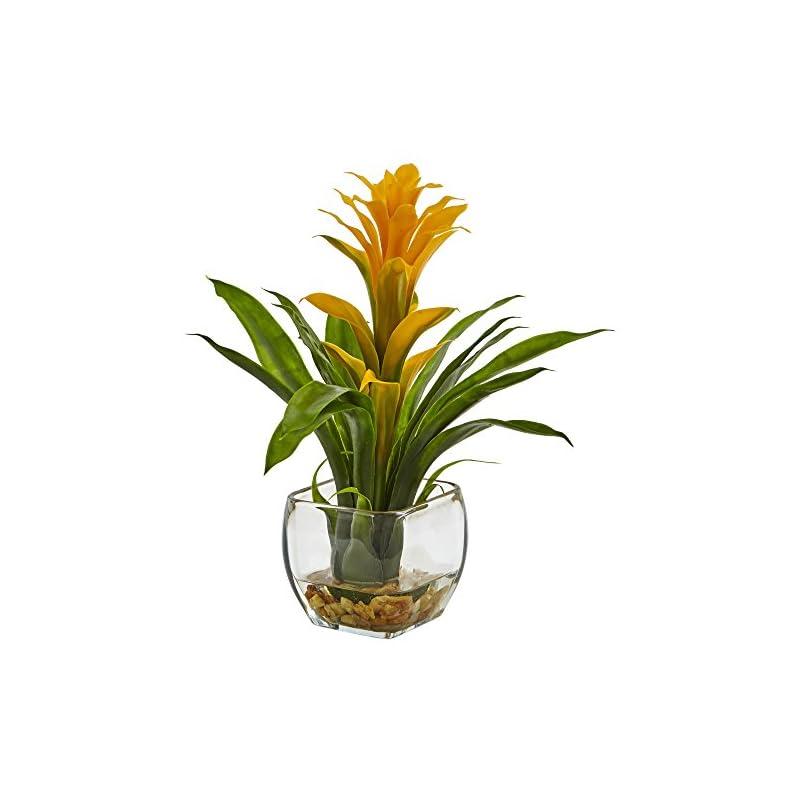 silk flower arrangements nearly natural 1 bromeliad with glass vase arrangement, 11 x 11 x 12, yellow