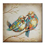 FLY SPRAY Oil Paintings Canvas Wall Art Cute Lovely Birds Animal Painting Framed 100% Hand Painted Abstract...