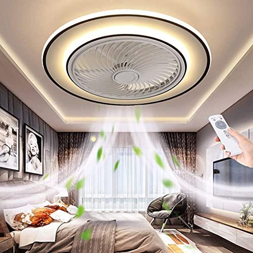 LED Invisible Ventilador de Techo con lámpara Dormitorio con Mando a Distancia Moderna Plafon de Techo para Dormitorio Salón 3000K~6500K Ø53CM Negro