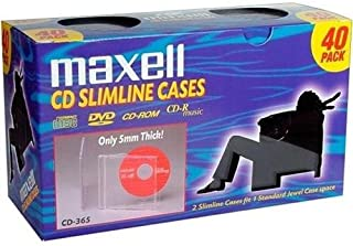 Maxell 190074 CD-365 Slimline Jewel Cases - 40 Pk (5mm) - Clear