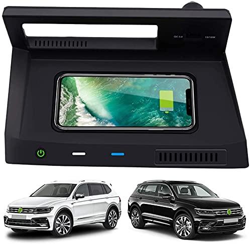 Cargador de Coche inalámbrico para Tiguan 2018 2019 2020, Cargador de teléfono de Carga rápida de 10 W con Puerto USB QC 3.0 para iPhone 12/11 / XS/XR/X Samsung S20 / S10 / S9
