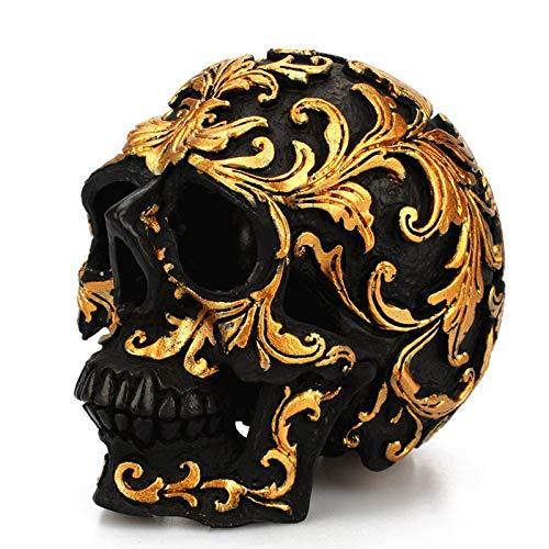 CZPF - Figura Decorativa de Resina con diseño de Calavera Negra y Realista, réplica Humana para Halloween, decoración de Marco de Flores Doradas