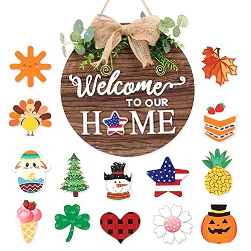 HYISHION Letrero de Bienvenida a Nuestro hogar Intercambiables, Letrero de Puerta de Bienvenida de Temporada con 14 Accesorios, Letrero de Guirnalda de Madera Bricolaje Sweet Home Decoración