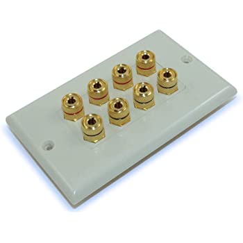MyCableMart Wall Plate 1 Speaker for Banana Plugs Gold Plate,White 2 Input Jacks