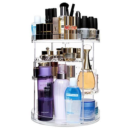 CECOLIC Make Up Organizer 360° Drehbar Kosmetikbox, 360 Grad Verstellbar Beauty Organizer, großen Schmink Aufbewahrung Kosmetikbox für Dresser, Schlafzimmer, Badezimmer, Kristallklar