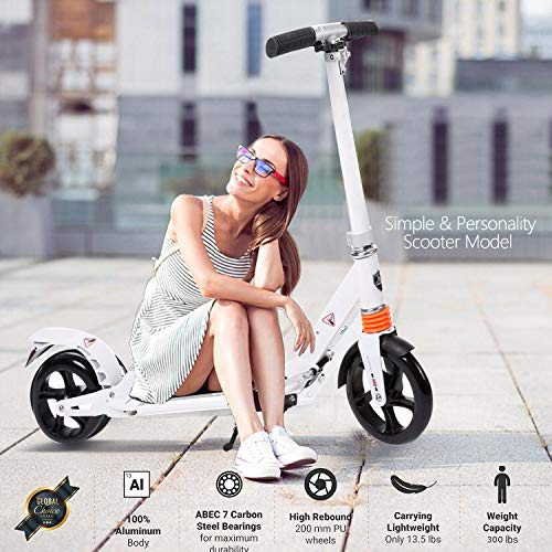 Best Deals! kids/Adult Scooter with 3 Seconds Easy-Folding System, 220lb Folding Adjustable Scooter with Disc Brake and 200mm Large Wheels (White)