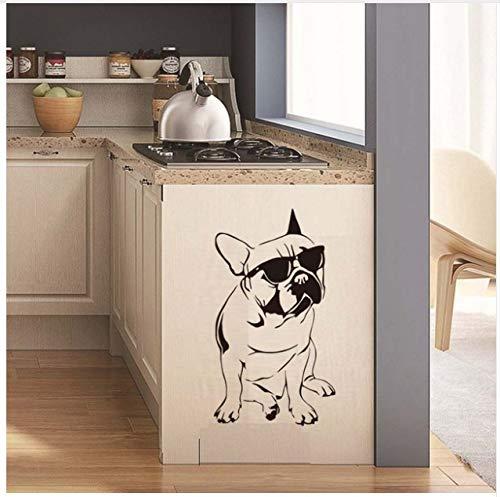 Bulldog francés Etiqueta de La Pared Pegatina para el Parachoques del Coche Frances Dog Calcomanías de Vinilo Espejo Nevera DIY Decoración de Dibujos Animados A Prueba de Agua Cocina Mural