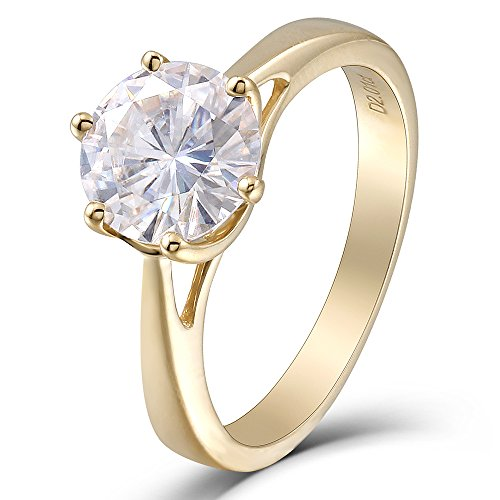TransGems 14K Yellow Gold 2ct 8MM H Color 2.8MM Width Heart Arrows Cut Moissanite Engagement Ring for Women (8) 14k June Birthstone Ring