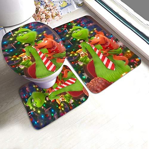XiaLianNai-shop The Grinch Adorable Dog Max Bath Mat 3 Piece Set Soft Absorbent Anti-Slip Pads and Carpet Bath Mat Set, Bath Anti-Skid Pads + Toilet Lid Cover + Contour Pads Bathroom Carpet Sets