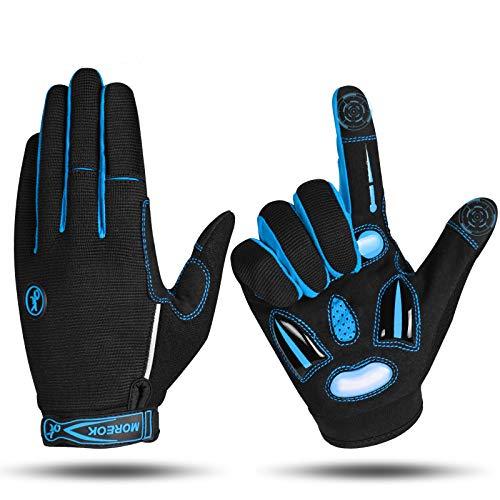 MOREOK Fahrradhandschuhe für Herren Und Damen,5MM SBR+Flüssigkeit Gel Stoßdämpfende Full Finger Atmungsaktiv Rutschfestes Radsporthandschuhe MTB Handschuhe Blau-L