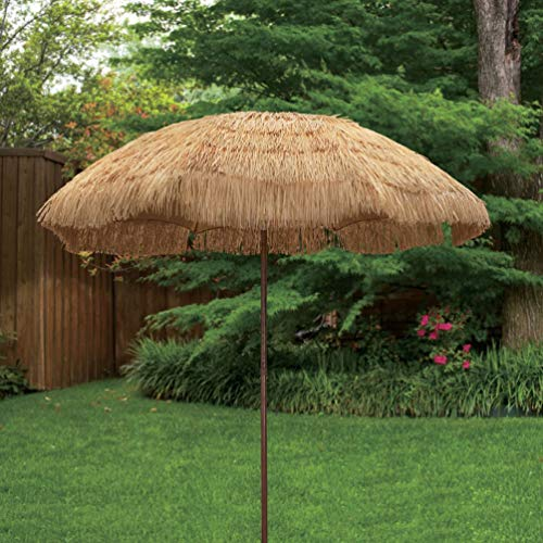 New 8' Wide Hawaiian Tiki Design Beach Umbrella Thatched Patio Umbrella with Press Button Tilt and Fabric Carry Bag (8', Natural W/Tilt)