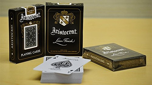 Gamblers Warehouse Aristocrat Bank Note Black Poker Linen Finish Playing Cards Deck