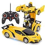 RAVSOOL Telecomando trasforma auto, robot rc ricaricabile a 360 ° rotante acrobazia 1:18 deformazione giocattolo auto da corsa con suono e luce fantastici, deformazione a un pulsante nel robot