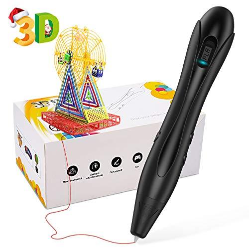 EUTOYZ Penna 3D,Giocattoli Ragazzi 8 9 10 11 12 Anni Penna Stampata 3D è Un Regalo Perfetto per Bambini Regali per Ragazzo di 9-12 Anni Nera