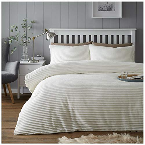 Gaveno Cavailia Easy Care Teddy Chunky Rib Duvet Cover, Soft & Cosy, Luxury Quality Stripe Fleece Quilt Bed Set, KingSize, Cream, Polyester, King