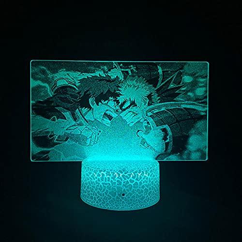 Luz nocturna 3D de anime, LED, ilusión de fotografía, My Hero Universities Bakugou Kastsuki, Wake Up Bedroom Beauty for Child Fans Gift 16 colores Remote Highan