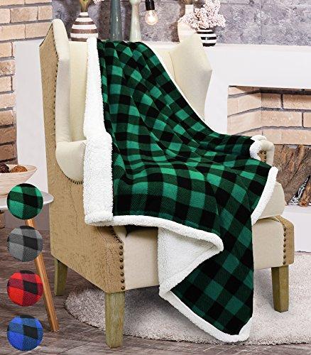 Catalonia, plaid in tartan con fodera tessuto Sherpa per divano letto, coperta reversibile in pile foderato in pelliccetta sintetica, regalo tenero e ultra morbido, 152cm x 127cm