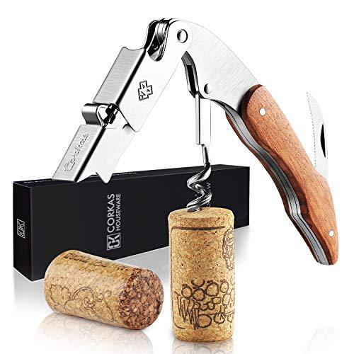 CORKAS Kellnermesser, Korkenzieher Holz für Wein und Bier mit Flaschenöffner & Folienschneider, Weinöffner aus Edelstahl zum Sommeliers, Kellner und Barkeeper