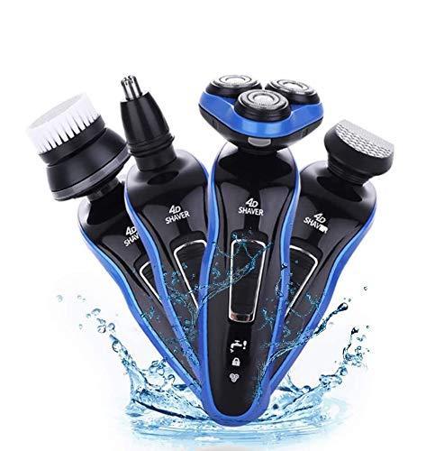Tondeuse de rasage électrique rechargeable pour hommes 100% imperméable à l'eau, équipée d'un rasoir mobile intelligent 4D et d'un rasoir rétractable.