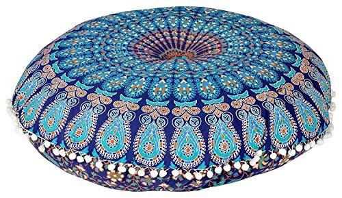 AAKARSHAN 32' Mandala Floor Pillow Cushion Seating Throw Cover Hippie Decorative (Blue)