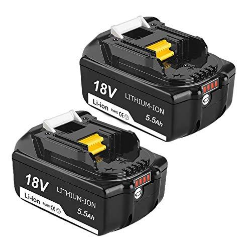 Topbatt 2 Stück BL1860B für 18V Akku Ersatzakku BL1860 BL1850B BL1850 BL1840 BL1830 BL1835 BL1845 BL1845 BL1815 LXT-400 mit LED Anzeige Elektrowerkzeuge