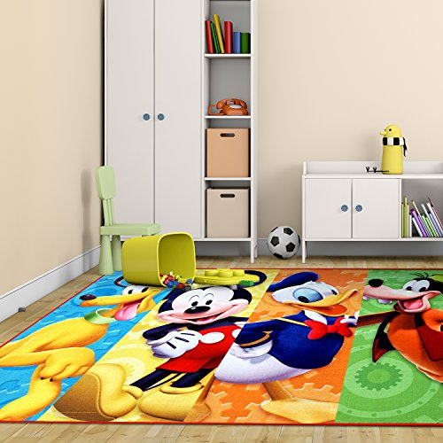 Disney Mickey Mouse Clubhouse Rug HD Digital MMCH Kids Room Decor Bedding Area Rugs 5x7, X Large, Multicolor