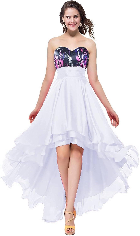 YINGJIABride High Low Chiffon and Muddy Camo Evening Cocktail Dresses Bridesmaid Dress