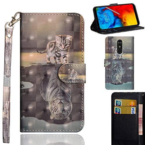 Ooboom LG Stylus 4/LG Stylo 4/LG Q Stylus Hülle 3D Flip PU Leder Schutzhülle Handy Tasche Hülle Cover Ständer mit Kartenfach Trageschlaufe für LG Stylus 4/LG Stylo 4/LG Q Stylus - Katze Tiger