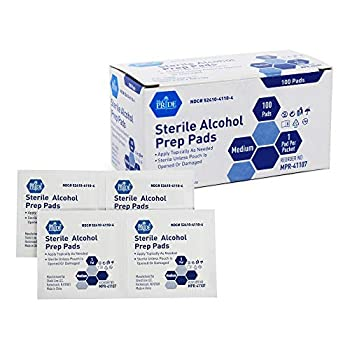 Medpride Alcohol Prep Pads| 100 Pack| Medical-Grade Sterile Individually-Wrapped Isopropyl Cotton Swabs| Disposable Medium Square Size 2ply Latex Free & Antiseptic| for Medical & First-Aid Kits