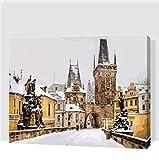 QAZZSF Karlsbrücke Im Winter Prag Gemälde Nach Zahlen Mit Acrylfarben Für Die Inneneinrichtung Digitales Malen 40X50CM